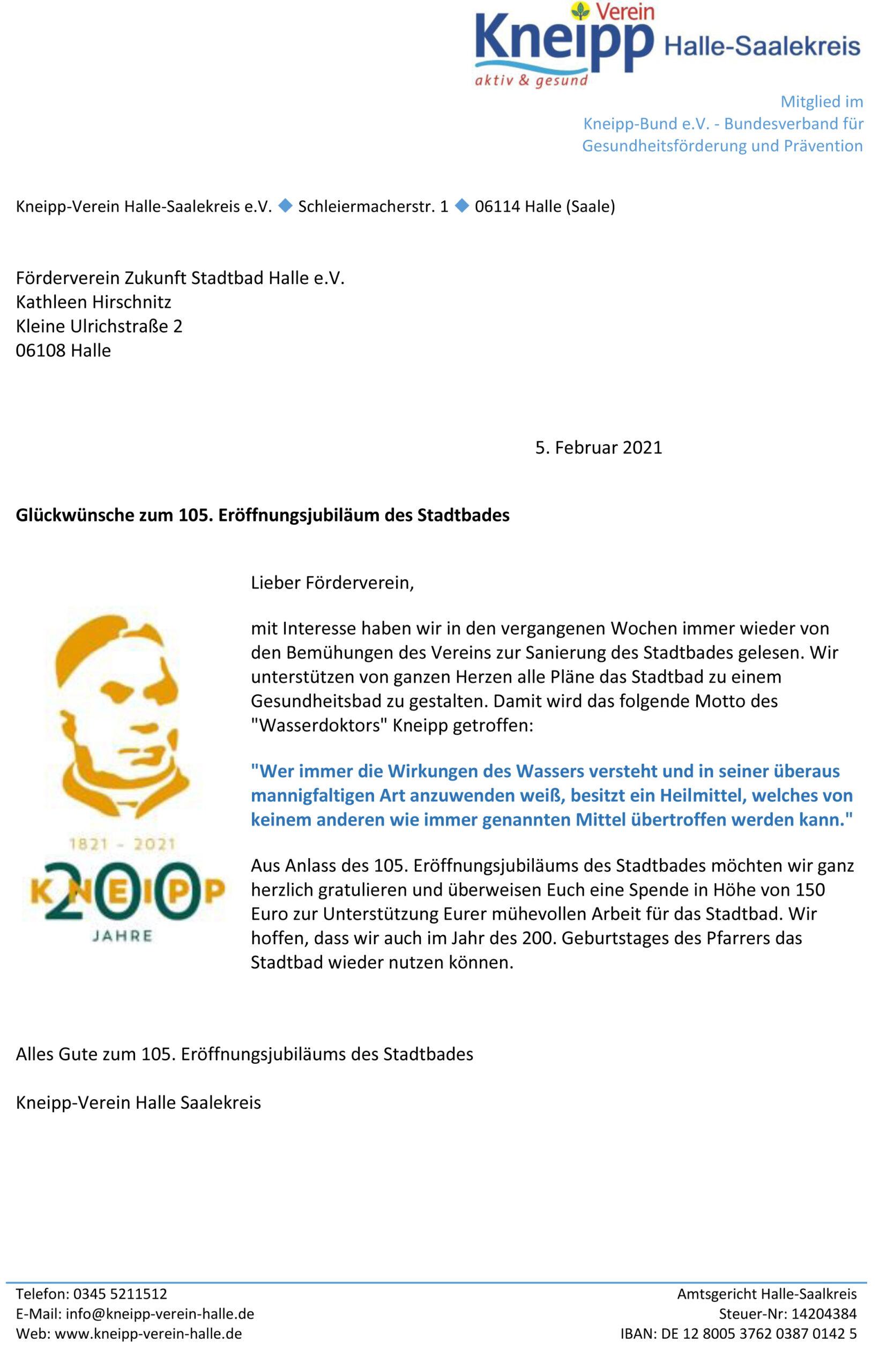 Glückwünsche des Kneippvereins.