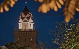 Turm des Stadtbades. Foto: Alexander Schieberle, 2021.