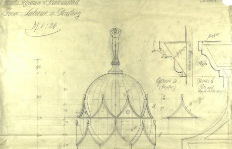 Entwurf der Turmhaube von Wilhlem Jost, 1913. Foto. Stadtarchiv Halle.